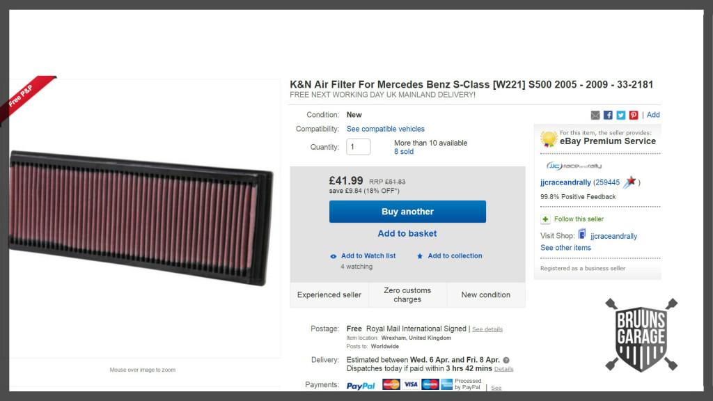KN filter på Ebay
