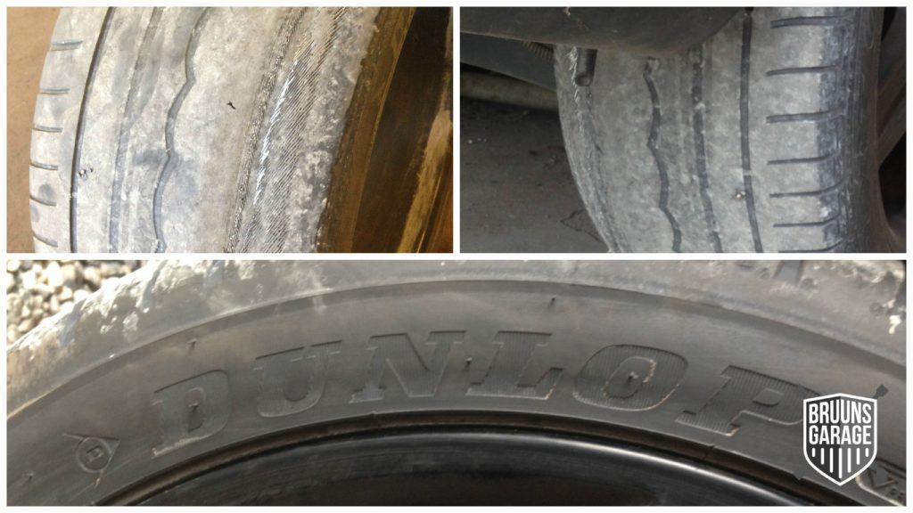 Slidte dæk på Mercedes
